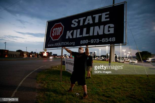 Abe Bonowitz of Death Penalty Action, an execution abolitionist group, protests near the Terre Haute Federal Correctional Complex where death row...