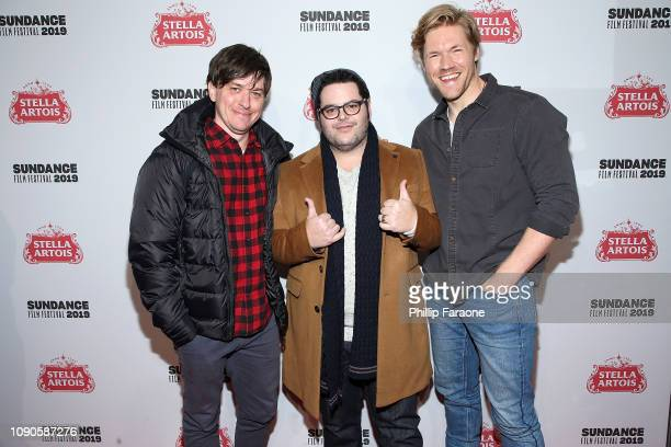 Abe Forsythe Josh Gad and Alexander England attend the 'Little Monsters' celebration at Stella's Film Lounge during the 2019 Sundance Film Festival...
