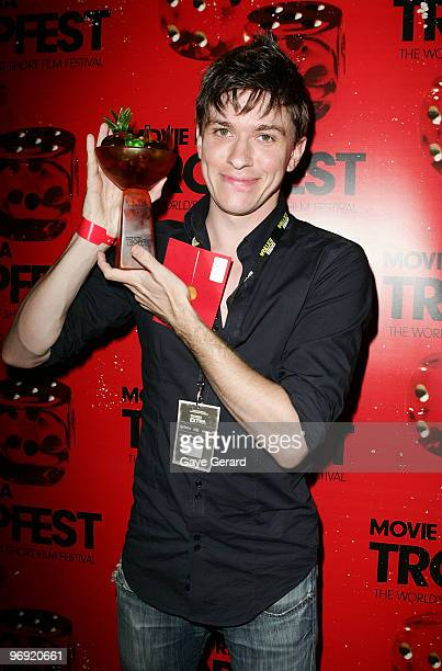 Abe Forsythe winner with 1st prize for 'Shock' poses with his trophy during the Tropfest 2010 short film festival at The Domain on February 21 2010...