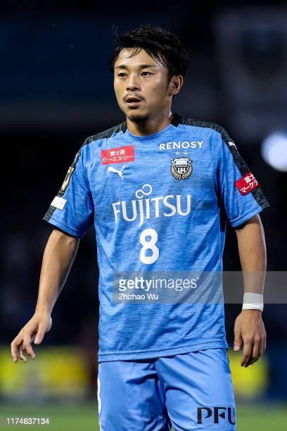 Abe Hiroyuki of Kawasaki Frontale in action during the JLeague J1 match between Kawasaki Frontale and Jubilo Iwata at Todoroki Stadium on September...