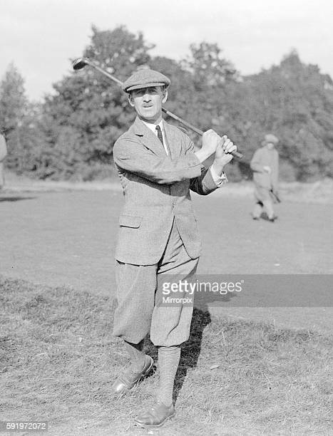Abe Mitchell Golfer October 1923 Wearing plus fours and a flat cap he swings his golf club for the photographer during a professional golf tournament...