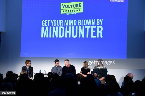 Abe Riesman Jonathan Groff Holt McCallany Anna Torv and Cameron Britton speak onstage during Get Your Mind Blown With the Cast of Mindhunter on Day...