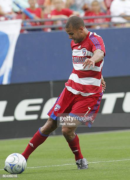 Abe Thompson of FC Dallas takes control of the ball as seen during the match between Chivas USA and FC Dallas at Pizza Hut Park on March 30 2008 at...