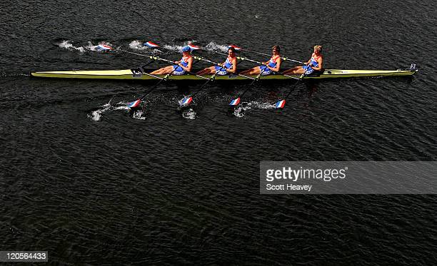 Abe Wiersma Nicolas Van Sprang Amos Keijser and Job Heidweller of Holland in action during the Junior Men's Quadruple Sculls on Day Five of the FISA...