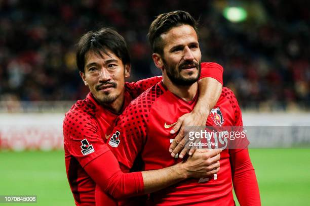 Abe Yuki and Zlatan of Urawa Red Diamonds celebrate the victory with the crowd after the 98th Emperor's Cup Final between Urawa Red Diamonds and...