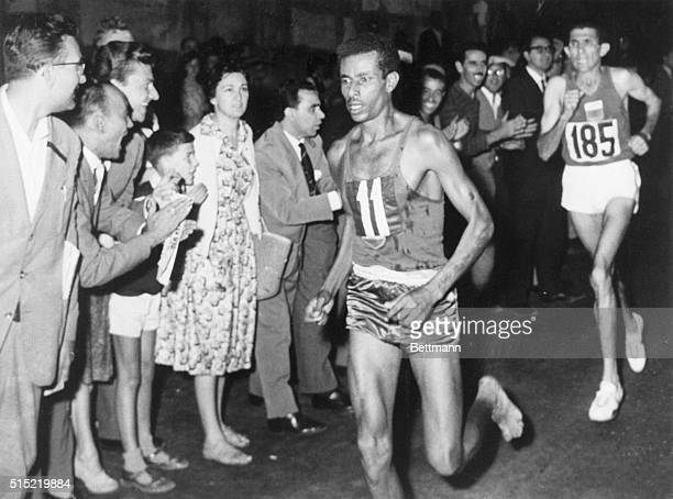 Abebe Bikila of Ethiopia running during the marathon at the Olympics, Rome, Italy, 10th September 1960.