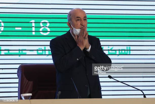 Abed el madjid tebboune president of the republic, during a national conference on the Recovery Plan for a new economy, at the international...