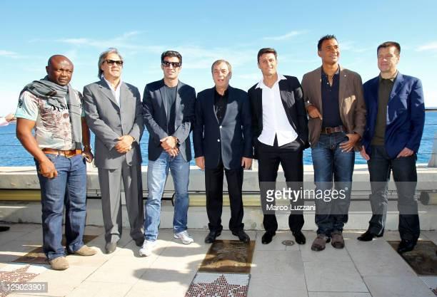 Abedi Pele, Rabah Madjer, Luis Figo, Antonio Caliendo, Javier Zanetti, Ruud Gullit and Carlos Dunga visit the Champions Promenade on October 10, 2011...