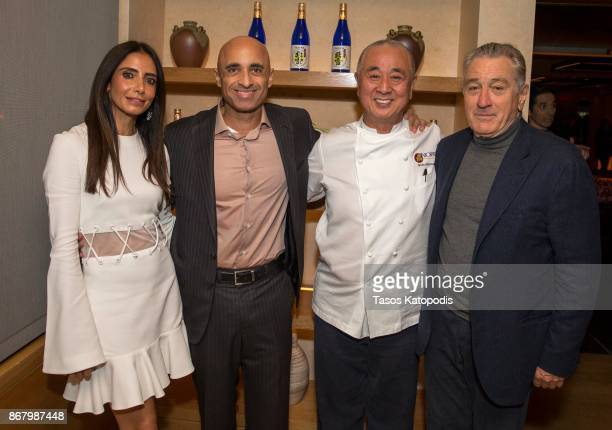 Abeer Al Otaiba Ambassador Yousef Al Otaiba Nobu Matsuhisa and Robert De Niro at Nobu Washington DC Sake Ceremony on October 29 2017 in Washington DC