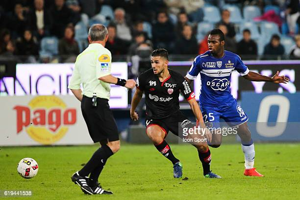 Abeid Mehdi of Dijon and Lassana Coulibaly of Bastia during the French Ligue 1 between Bastia and Dijon at Stade Armand Cesari on October 29 2016 in...