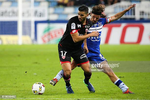 Abeid Mehdi of Dijon and Yannick Cahuzac of Bastia during the French Ligue 1 between Bastia and Dijon at Stade Armand Cesari on October 29 2016 in...