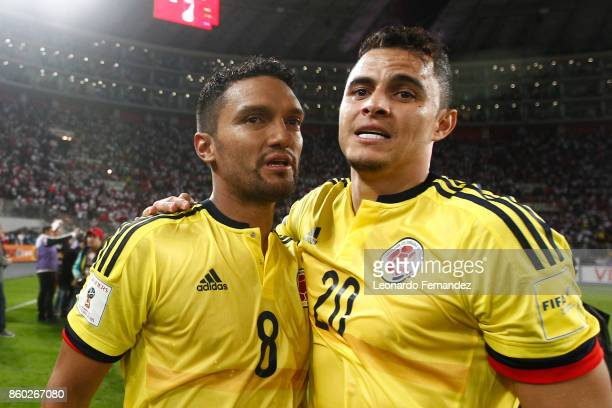 Abel Aguilar and Giovanni Moreno of Colombia celebrate the qualifying to the World Cup Russia 2018 after the match between Peru and Colombia as part...