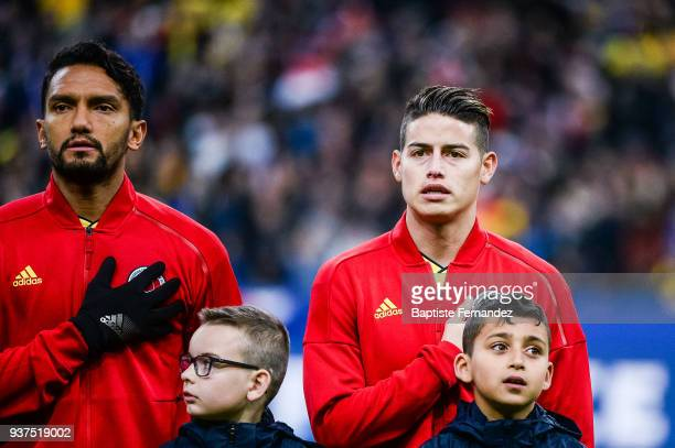 Abel Aguilar and James Rodriguez of Colombia during the International friendly match between France and Colombia on March 23 2018 in Paris France