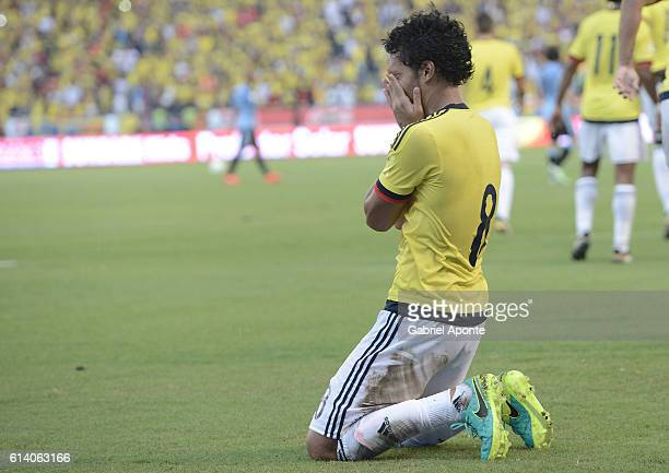 Abel Aguilar of Colombia celebrates after scoring the first goal of his team during a match between Colombia and Uruguay as part of FIFA 2018 World...