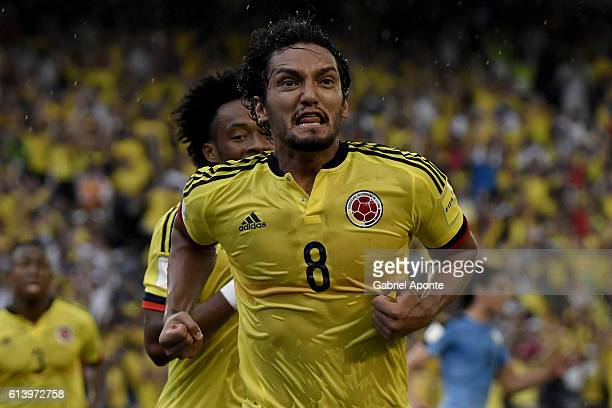 Abel Aguilar of Colombia celebrates after scoring the opening goal during a match between Colombia and Uruguay as part of FIFA 2018 World Cup...