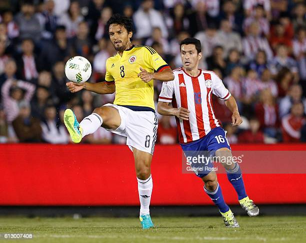 Abel Aguilar of Colombia controls the ball during a match between Paraguay and Colombia as part of FIFA 2018 World Cup Qualifiers at Defensores del...