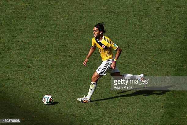 Abel Aguilar of Colombia controls the ball during the 2014 FIFA World Cup Brazil Group C match between Colombia and Cote D'Ivoire at Estadio Nacional...