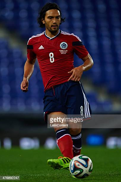 Abel Aguilar of Colombia controls the ball during the International friendly match between Colombia and Tunisia at Cornella el Prat Stadium 2014 in...