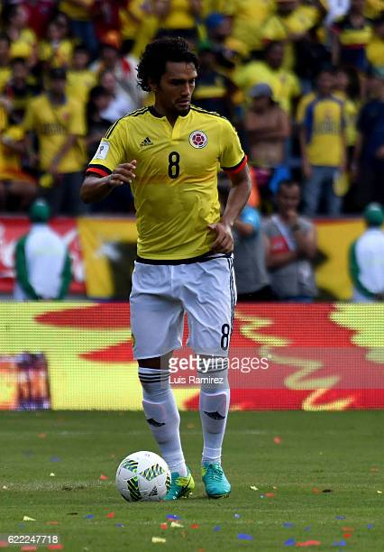 Abel Aguilar of Colombia drives the ball during a match between Colombia and Chile as part of FIFA 2018 World Cup Qualifiers at Metropolitano Roberto...