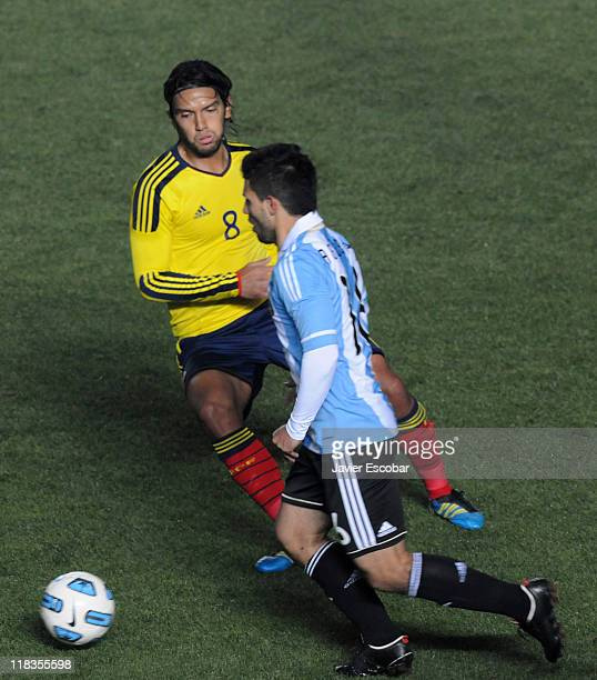 Abel Aguilar of Colombia during the mach between Argentina and Colombia as part of group A of Copa America 2011 at Brigadier Lopez Stadiun on July 06...
