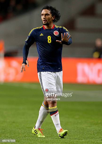 Abel Aguilar of Colombia in action during a FIFA Friendly match between Colombia and Netherlands at Amsterdam Arena on November 19 2013 in Amsterdam...