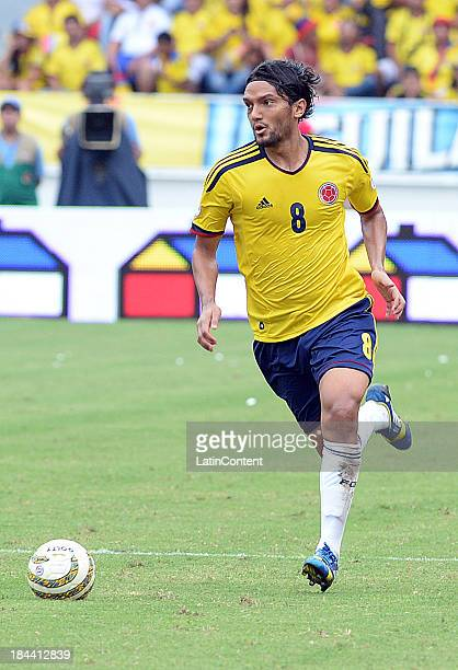 Abel Aguilar of Colombia in action during a match between Colombia and Chile as part of the 15th round of the South American Qualifiers at...