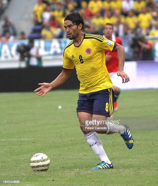 Abel Aguilar of Colombia in action during match between Colombia and Chile as part of the South American Qualifiers for the FIFA's World Cup Brazil...