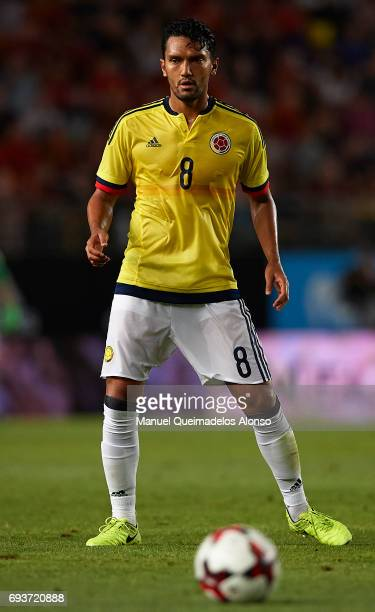 Abel Aguilar of Colombia in action during the international friendly match between Spain and Colombia at Nueva Condomina Stadium on June 7 2017 in...