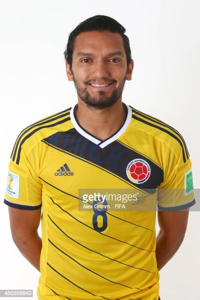 Abel Aguilar of Colombia poses during the official FIFA World Cup 2014 portrait session on June 9 2014 in Sao Paulo Brazil