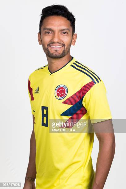 Abel Aguilar of Colombia poses for a portrait during the official FIFA World Cup 2018 portrait session at Kazan Ski Resort on June 13 2018 in Kazan...