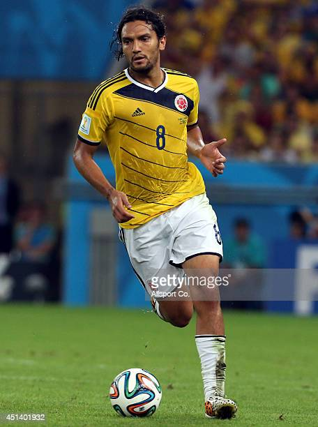 Abel Aguilar of Colombia runs during the 2014 FIFA World Cup Brazil Round of 16 match between Colombia and Uruguay at Maracana on June 28 2014 in Rio...