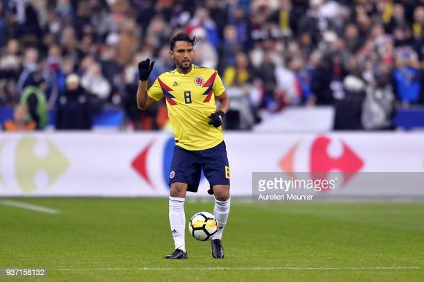 Abel Aguilar of Colombia runs with ball during the international friendly match between France and Colombia at Stade de France on March 23 2018 in...