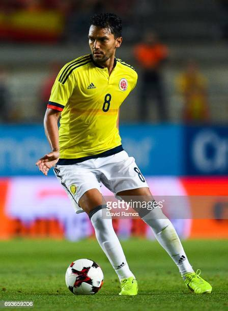 Abel Aguilar of Colombia runs with the ball during a friendly match between Spain and Colombia at La Nueva Condomina stadium on June 7 2017 in Murcia...