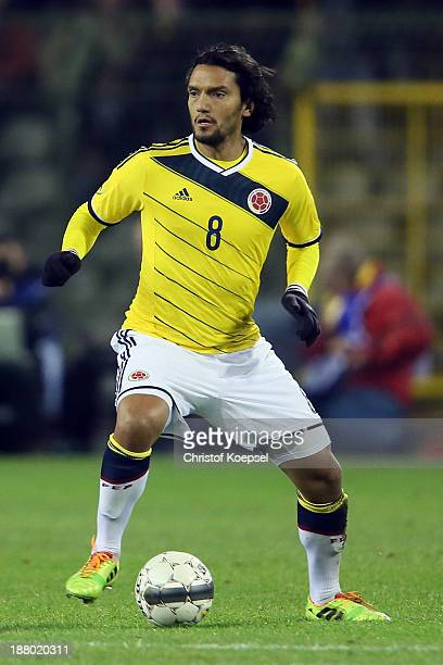Abel Aguilar of Colombia runs with the ball during the international friendly match between Belgium and Colombia at King Badouin stadium on November...