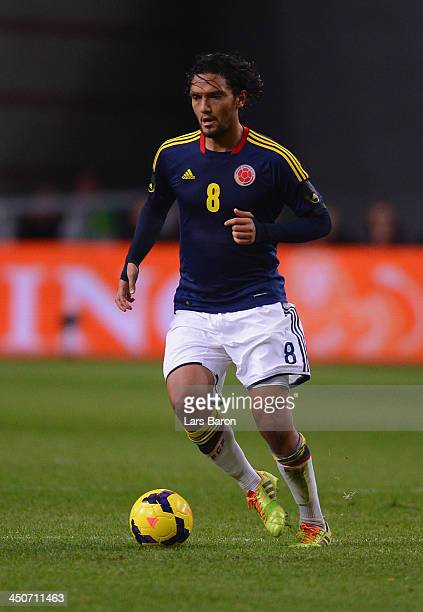 Abel Aguilar of Colombia runs with the ball during the International Friendly match between Netherlands and Colombia at Amsterdam ArenA on November...