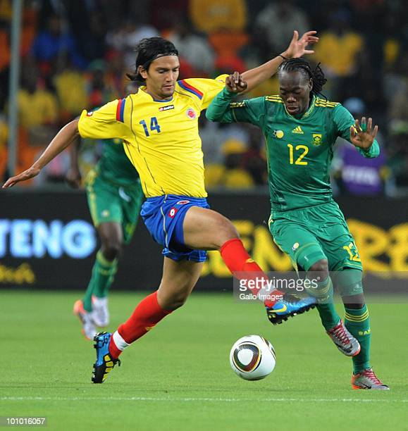 Abel Aguilar of Columbia and Reneilwe Letsholoyane of South Africa in action during the International friendly between South Africa and Columbia at...