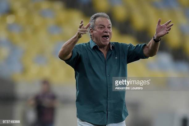 Abel Braga head coach of Fluminense reacts during the match between Fluminense and Santos as part of Brasileirao Series A 2018 at Maracana Stadium on...