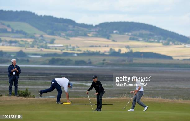 Abel Gallegos of Argentina with Jayden Ford of New Zealand and Daniel Rodrigues of Portugal at the 7th green during the final day of the The Junior...