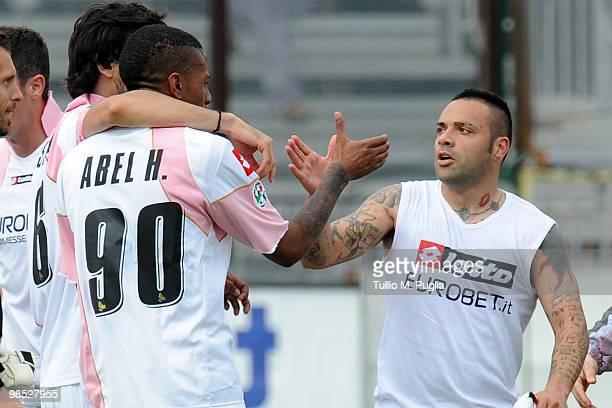Abel Hernandez and Fabrizio Miccoli of Palermo celebrate after the Serie A match between Cagliari Calcio and US Citta di Palermo at Stadio Sant'Elia...