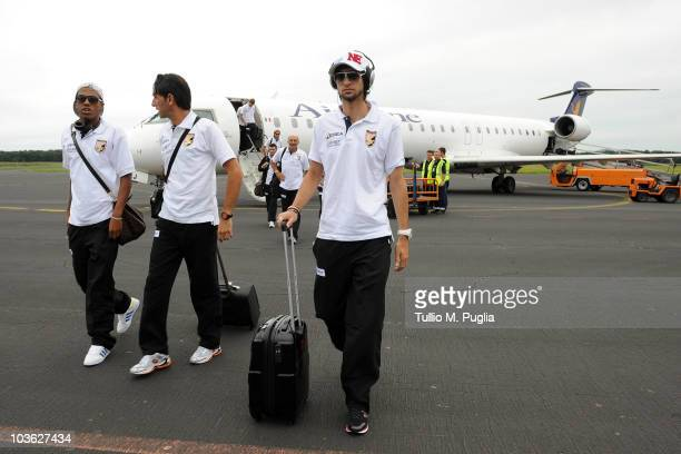 Abel Hernandez and Javier Pastore of Palermo arrive in Slovenia ahead of their UEFA Europa League Play Offs Second Leg match against NK Maribor on...