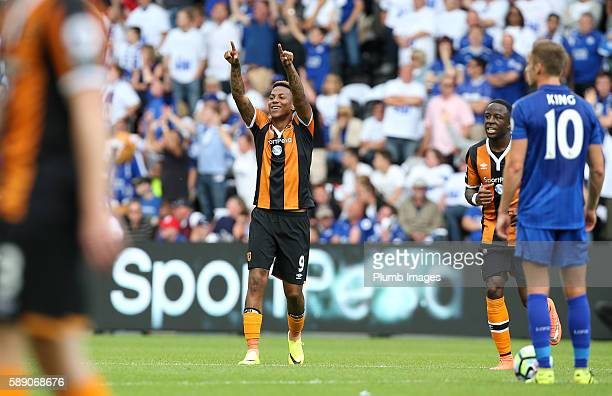 Abel Hernandez of Hull city celebrates after scoring to make it 10 during the Premier League match between Leicester City and Hull City at KC Stadium...