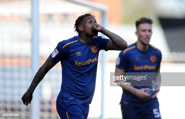Abel Hernandez of Hull City celebrates as he scores his sides fourth goal during the Sky Bet Championship match between Bristol City and Hull City at...