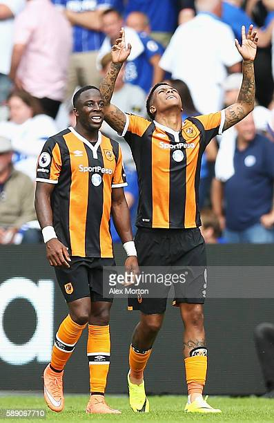 Abel Hernandez of Hull City celebrates his sides first goal during the Premier League match between Hull City and Leicester City at KCOM Stadium on...