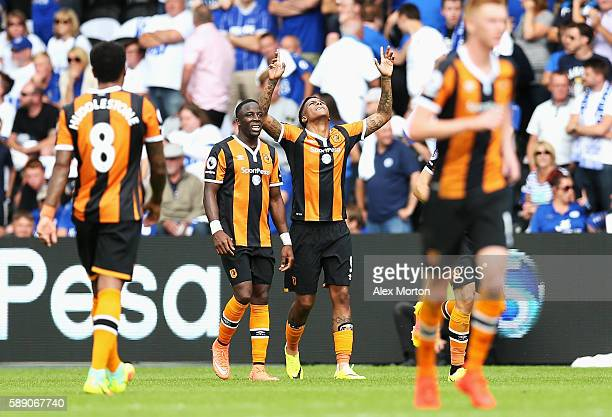 Abel Hernandez of Hull City celebrates his sides first goal with his team mates during the Premier League match between Hull City and Leicester City...