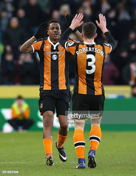 Abel Hernandez of Hull City celebrates scoring his sides first goal with Andrew Robertson of Hull City during the Premier League match between Hull...