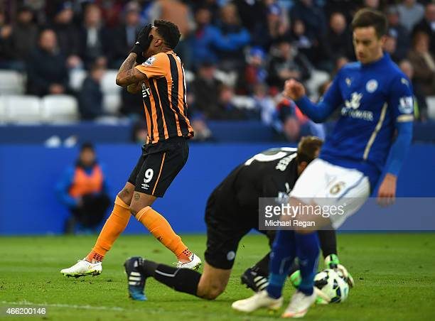Abel Hernandez of Hull City holds his head in his hands after a missed chance on goal during the Barclays Premier League match between Leicester City...
