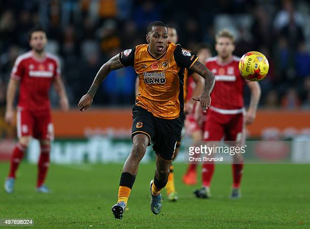 Abel Hernandez of Hull City in action during the Sky Bet Championship match between Hull City and Middlesbrough at the KC Stadium on November 7 2015...