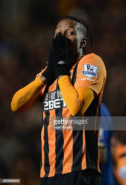 Abel Hernandez of Hull City reacts during the Barclays Premier League match between Hull City and Leicester City at KC Stadium on December 28 2014 in...
