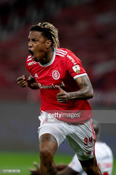 Abel Hernandez of Internacional celebrates after scoring the first goal of his team during a group E match of Copa CONMEBOL Libertadores 2020 between...