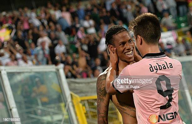 Abel Hernandez of Palermo celebrates with Paulo Dybala after scoring his team's second goal during the Serie B match between US Citta di Palermo and...
